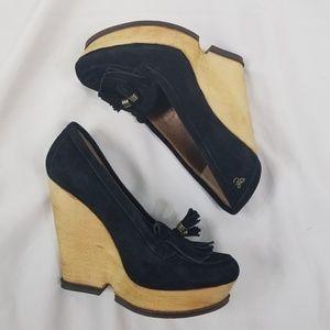 Sam Edelman Wesley black suede loafer wedges 8